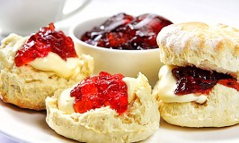 Traditional scones, jam and clotted cream