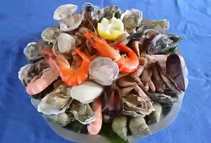 Fruits de Mer, A favourite in Brittany and Normandy. This one is by Tom Dowson at the Basse Copette, his luxury B & B in Normandy