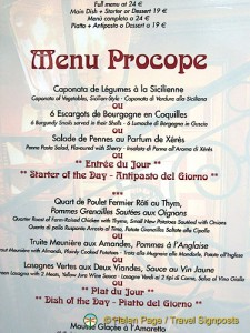 Menu at Café Procope - Paris