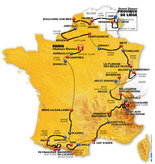 TDF 2012 Route Map