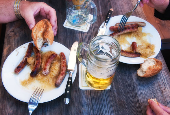 Regensburg Bratwurst sausages are renowned German fare!