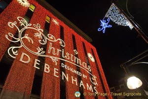 Debenhams at Christmas, London