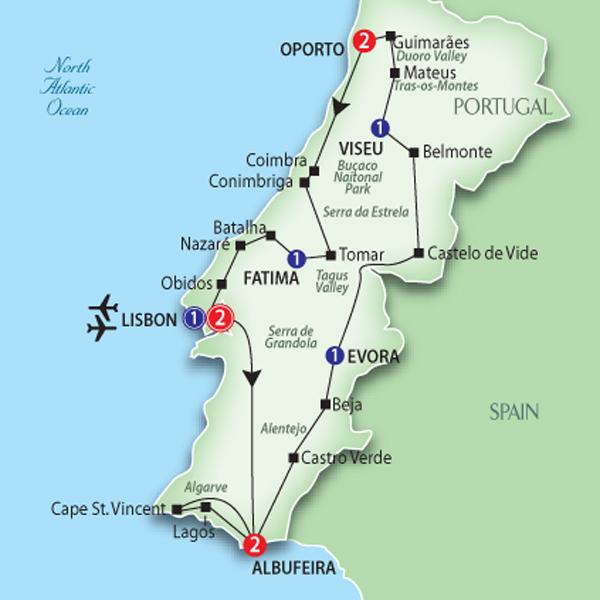 Portugal tour route