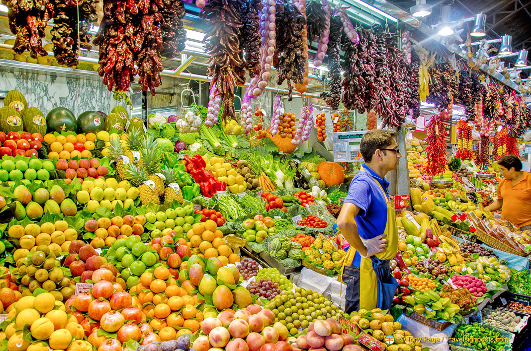 Barcelona market with fruits