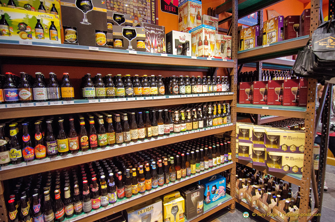 neat stacked shelves of belgian beers rh travelsignposts com neat shelves Beautiful Shelving