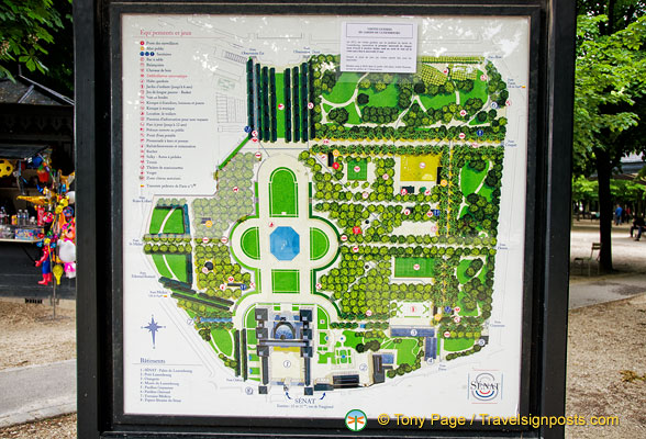 Map of the jardin du luxembourg for A la verticale du jardin grenoble