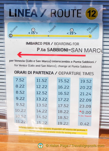 Vaporetto Line 12 Timetable From San Marco To Punta Sabbioni