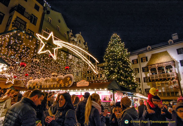 A bustling Christmas market
