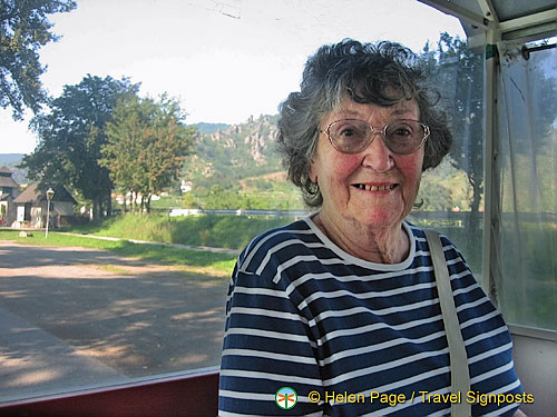 Barbara, on the little white train to Durnstein