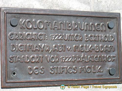 Plaque of the Kolomanibrunnen