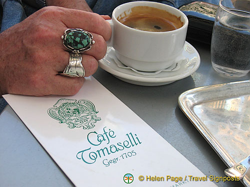 Tony having coffee at Cafe Tomaselli