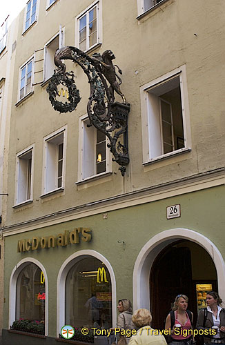 McDonald's exists in Salzburg, however the giant Golden Arches are not permitted