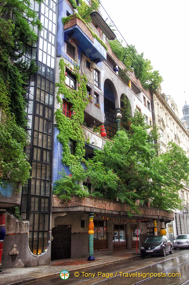 See the crooked Hundertwasser columns