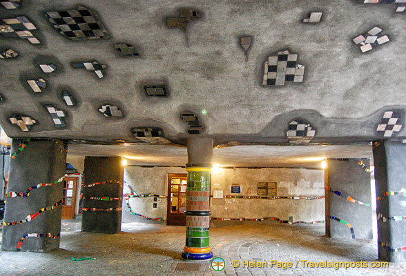 Irregular floor and ceiling of Hundertwasserhaus