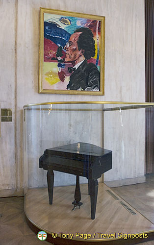 This portrait of Mahler by R.B. Kitaj hangs in the area where Mahler once worked