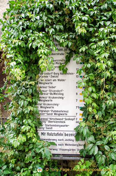 Walking routes and distances from Weissenkirchen