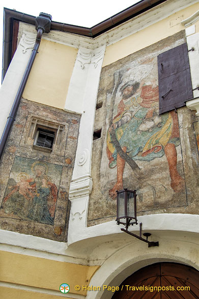 Wall paintings of religious scenes