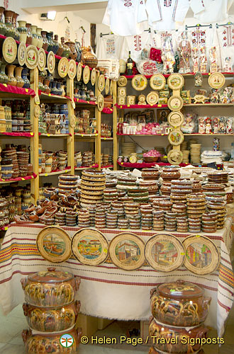 Lots of souvenirs in this pottery shop