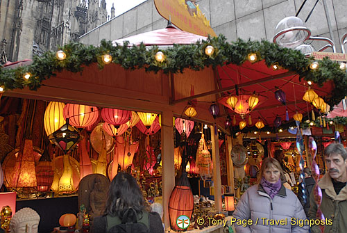 Beautiful lamp shades for sale at Cologne Weihnachtsmarkt