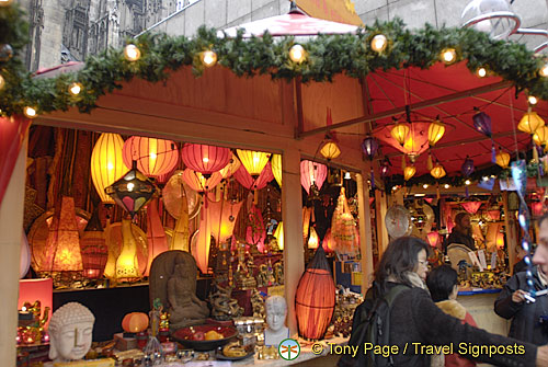 Beautiful lamp shades for sale at the Koln Christmas Market