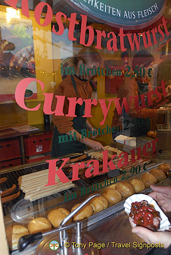 Bratwurst, currywurst and krakauer