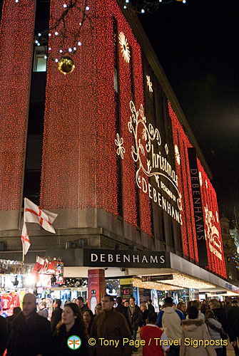 Christmas lights at Debenhams