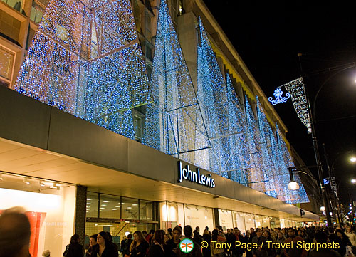 Christmas lights at John Lewis