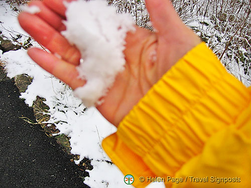 Touching our first snow in Germany, and here is the proof