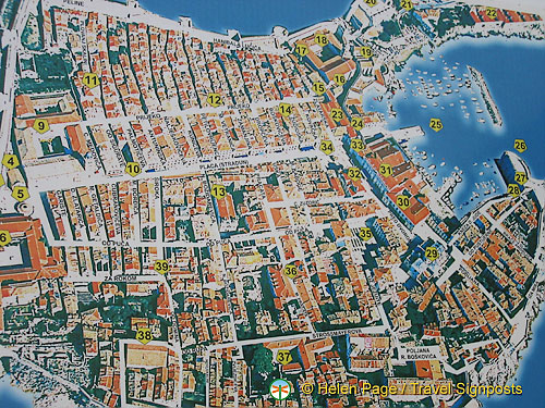 Aerial map of Dubrovnik