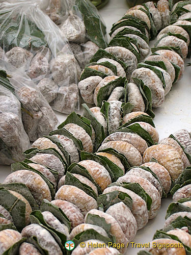 Garlands of dried figs with bay leaves in the marketplace