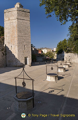 Zadar -  Croatia - Bablja Kula (Old Woman's Tower) and the remains of the mediaeval town walls.