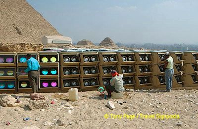 Adjusting the lights for tonight's Son-et-Lumiere show.