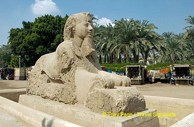 In the garden next to the museum stands this giant sphinx.