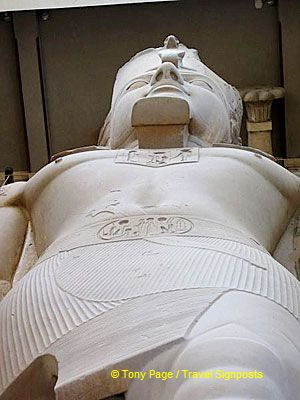 The cartouche of Rameses II can be seen on his belt.[Rameses II - Memphis - Egypt]