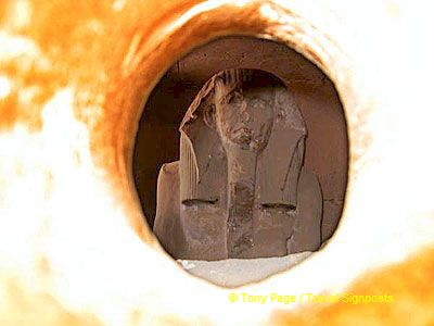 King Djoser - his face mutilated due to gouging out of the inlaid eyes.