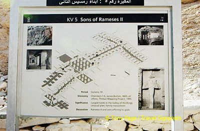 Site map of tombs of Sons of Rameses II