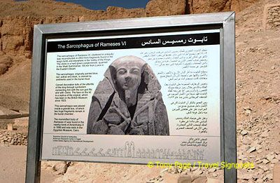 This plaque tells of the reconstruction of the Sarcophagus of Rameses VI in 2003.
