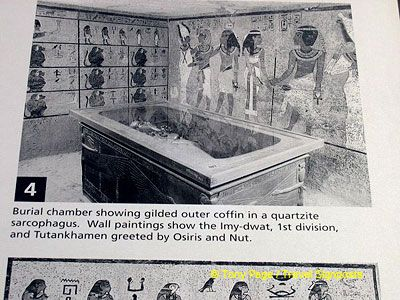 Burial chamber showing gilded outer coffin in a quartzite sarcophagus.