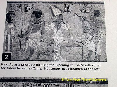 King Ay, as a priest, performing the Opening of the Mouth ritual for Tutankhamen.
