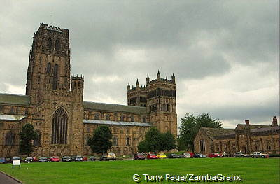 Within the cathedral you will see shapes and patterns carved into the columns [Durham - England]