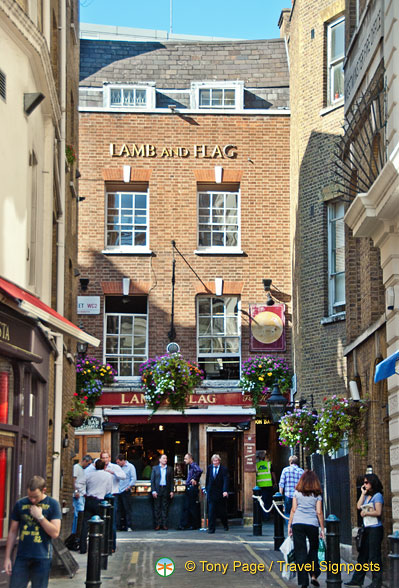 The Lamb and Flag is a Covent Garden institution.  Charles Dickens was a frequent drinker here.