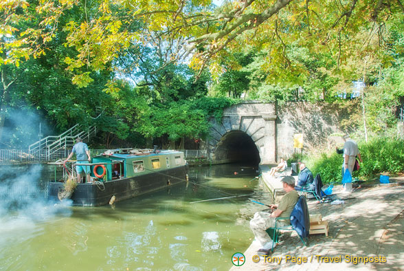 Canal boat and the Islington Tunnel