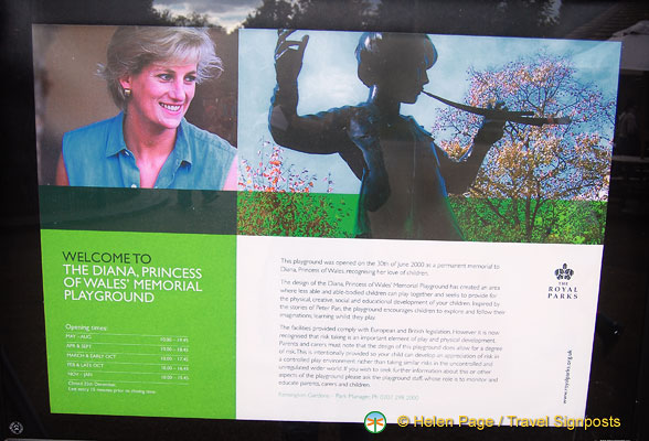 About the Diana Memorial Park and opening times
