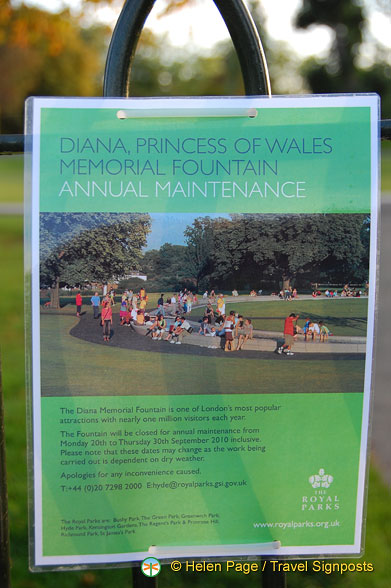 Notice about the annual maintenance of the Diana Memorial Fountain