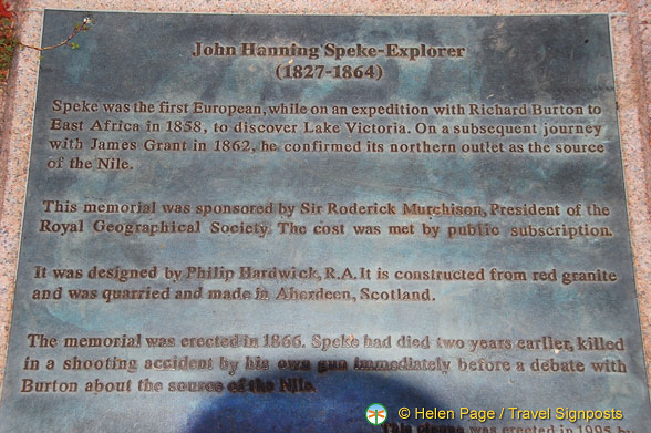 Plaque about John Hanning Speke, the explorer.