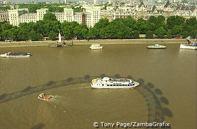 Shadow of London Eye on River Thames
