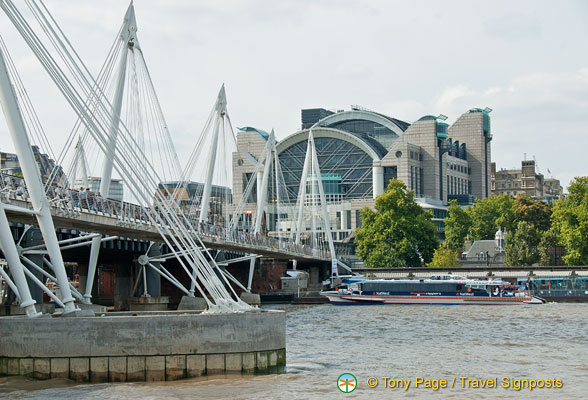 Hungerford  Bridge and the Charing Cross station