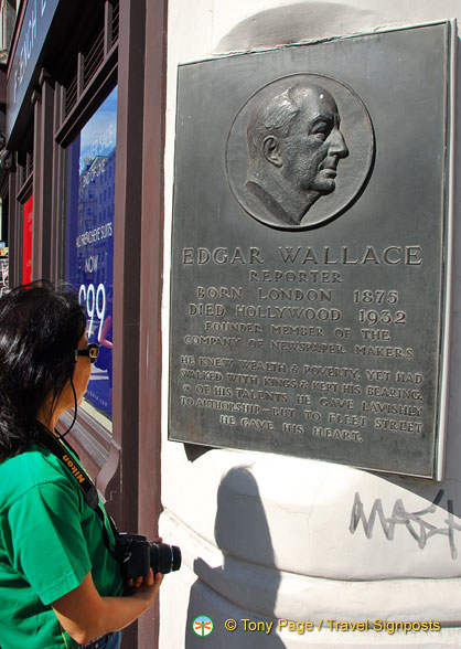 A plaque commemorating Edgar Wallace
