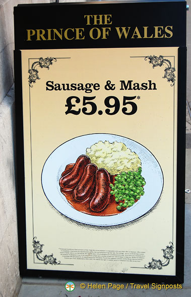 GBP5.95 for sausage & mash at The Prince of Wales