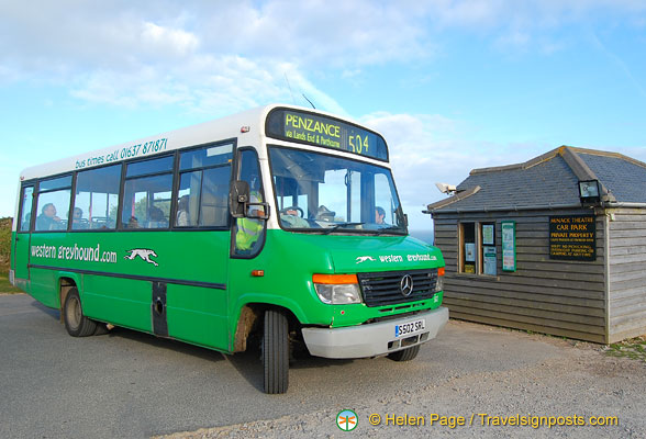 The Western Greyhound bus 504 is one of the bus services to the Minack Theatre